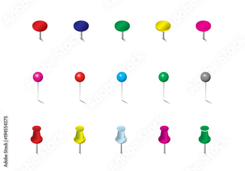 Colored Pins Flags and Tacks Set Colored Pins Flags and