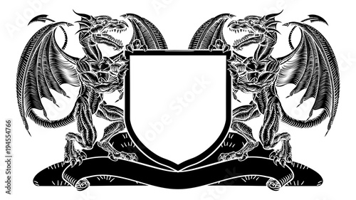 Dragon Coat of Arms Crest Shield Heraldic Emblem Stock