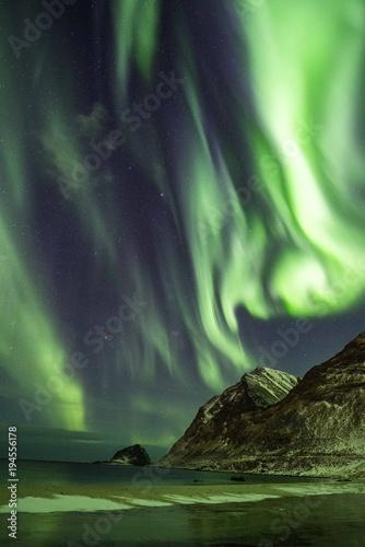 Photo  Aurora Borealis Lofoten Island