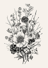 Bouquet. Spring Flowers And Twig. Peonies, Spirea, Cherry Blossom, Dogwood. Vintage Botanical Illustration. Black And White