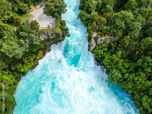 Foto op Aluminium Watervallen Stunning aerial wide angle drone view of Huka Falls waterfall in Wairakei near Lake Taupo in New Zealand. The waterfall is part of the Waikato River and is a major tourist attraction.