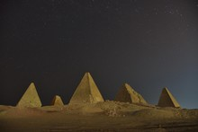 Meroitic Pyramids Of The Northern Group In The Moonlight, Gebel Barkal, Karima, Northern State, Nubia, Sudan, Africa