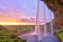 Seljalandsfoss Waterfall At Su...