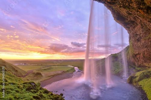Seljalandsfoss waterfall at sunset, Iceland, Europe - 194563570