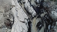 Aerial Footage Of Snowbound Rogue Falls In North Of Scottish Highlands, UK