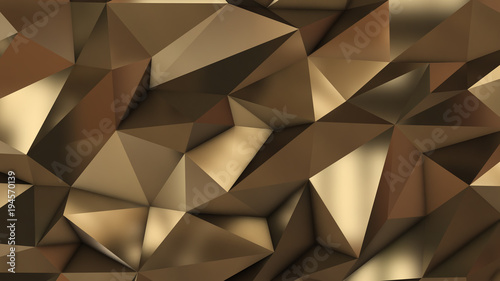 Gold abstract low poly triangle field - 194570139