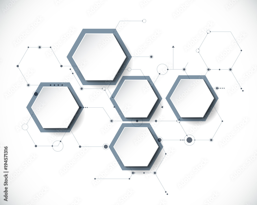 Fototapety, obrazy: Vector molecule with 3D paper label, integrated Hexagon background. Blank space for content, business, infographic, diagram,digital network, flowchart. Social network connection technology concept