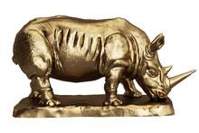 Rhinoceros Golden Sculpture Is...