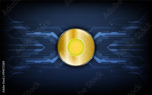 Fotografía  digital golden coin on data transfer tech concept background