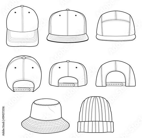 hat beanie design 2018 illustration flat sketches template buy