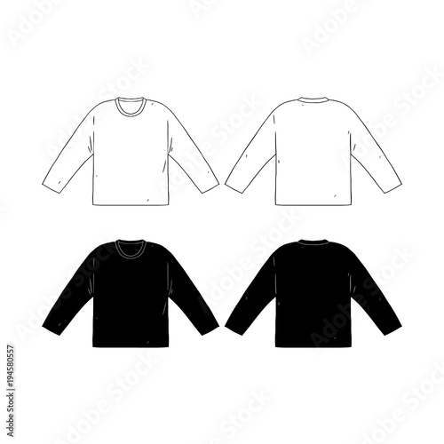 Hand Drawn Vector Illustration Of Blank Long Sleeve T Shirts TemplateFront And Back