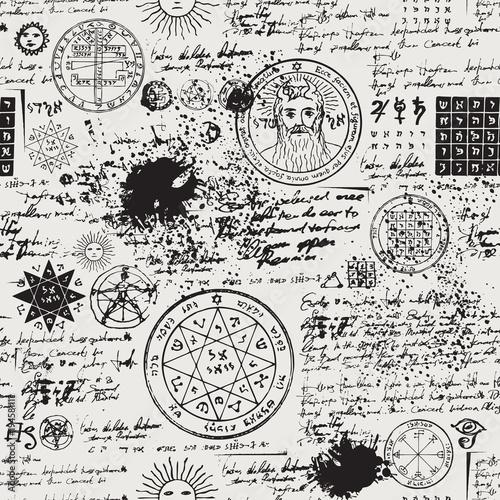 wektorowa-tekstura-bezszwowy-tlo-na-temacie-stary-manuskrypt-z-okultystycznymi-tekstami-i-symbolami-sredniowieczny-papirus-z-kleksami-i-plamami-w-stylu-retro