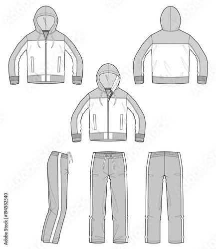 Sportswear Jacket Pants Set Vector Design Illustration Template
