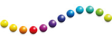 Color Spectrum Formed As A Wave By Twelve Balls. Seamless Extendable Illustration On White Background.