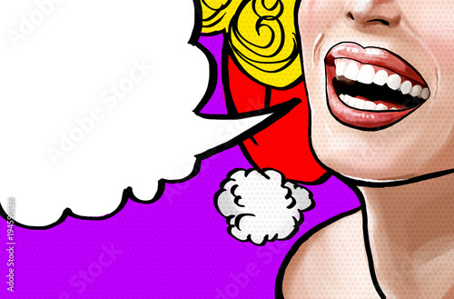 Pop art illustration beautiful smiling young Christmas woman, face detail. Pop art woman with speech bubble. Vintage advertising poster. Comics xmas femalel face.