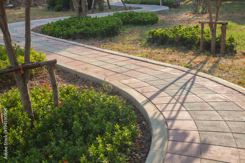 walkway and leaves in the park at thailand Wallpaper Mural