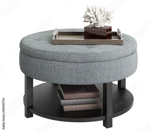 Carta da parati Classic coffee table with decor isolated on white background