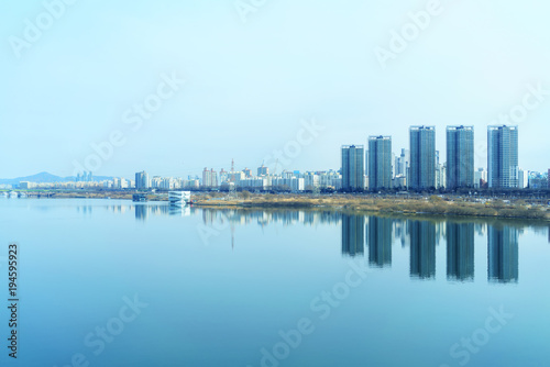 Cityscape of Seoul and Han river or Hangang in South Korea Poster
