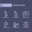 Business people icons set simple line flat illustration