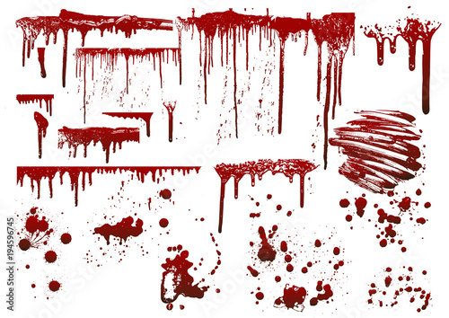 collection various blood or paint splatters,Halloween concept Fototapet