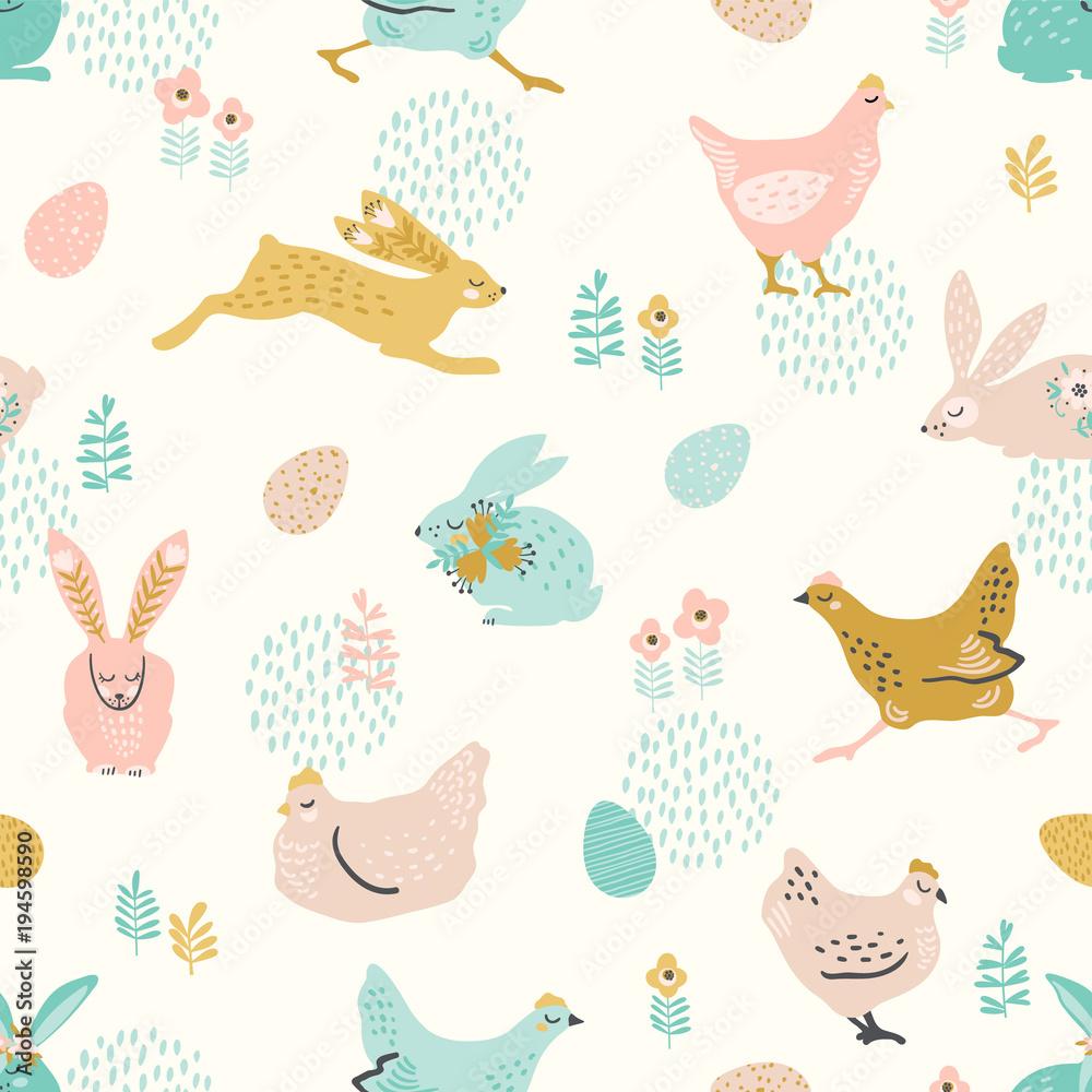 Wektorowy bezszwowy wzór z królikami i kurczakiem dla wielkanocy i innych użytkowników. <span>plik: #194598590 | autor: Nadezda Grapes</span>