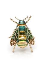Gold Brooch Enamel Bee Isolate...