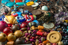Stack Of Colorful Wooden Beads...