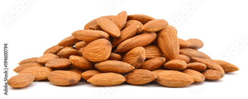 Heap of almond nuts isolated on white background Canvas-taulu