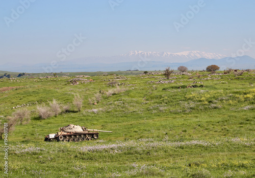 Fotografia  Blasted tank in the Golan Heights against the backdrop of Mount Hermon