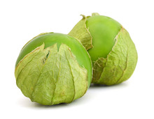 Two Tomato Tomatillos Fruits Isolated On White Background