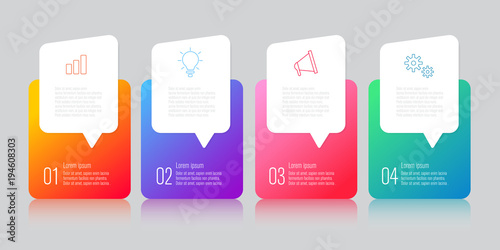 Photo  infographics design with speech bubble