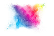 abstract color powder explosion on white background.Freeze motion of dust splash.