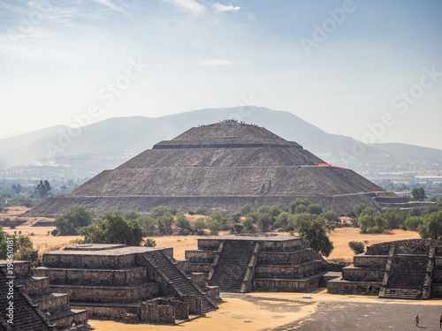 Teotihuacan, Mexico City, Mexico, South America - January 2018 [The Great Pyramid of Sun and Moon, views on ancient city ruins of Teotihuacan pyramids valley, The Road of Dead]