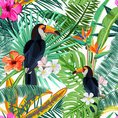 Fototapeta Vector seamless pattern with green tropical palm leaves, hibiscus flowers and bird toucan. Nature background. Summer or spring trendy design elements for fashion textile prints and greeting cards.