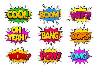 Kolekcja komiksowych efektów mowy. Kolorowy zestaw efektów bąbelkowych w stylu pop-art. Ilustracji wektorowych. EPS 10.