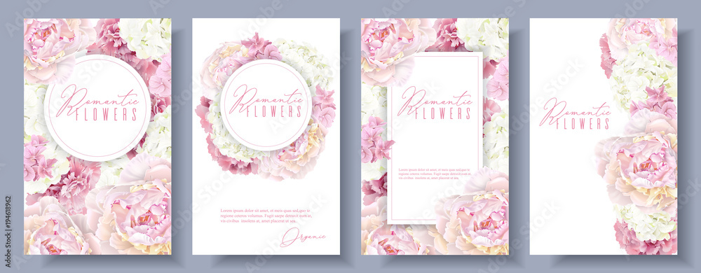 Fototapety, obrazy: Romantic flowers banner set
