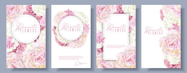 Romantic flowers banner set