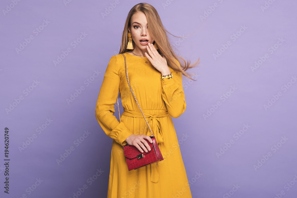 Fototapety, obrazy: Fashionable woman in nice yellow dress, handbag and accessories. Fashion spring summer photo
