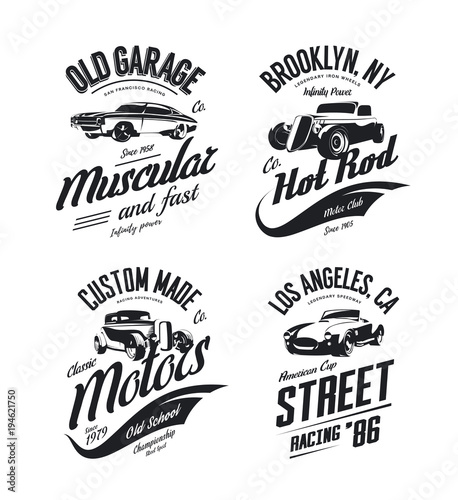 Vintage roadster, custom hot rod and muscle car vector tee-shirt logo isolated set Canvas Print