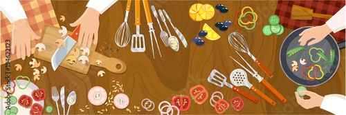 Fototapeta Chef cooks preparing food cook hands on the kitchen table top view vector obraz