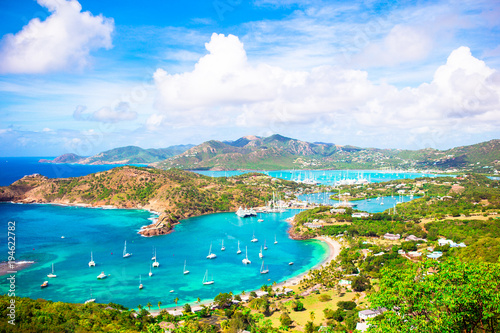 Cadres-photo bureau Caraibes View of English Harbor from Shirley Heights, Antigua, paradise bay at tropical island in the Caribbean Sea