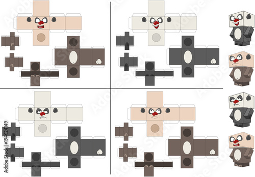 Deurstickers Babykamer Set of Panda Cubes. Toy for assemblage