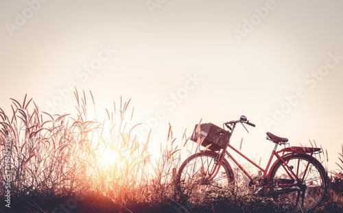 beautiful landscape image with Bicycle at sunset on glass field meadow ; summer or spring season background