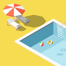 Vector Illustration Isometric Low Poly Chaise Lounges In Swimming Pool