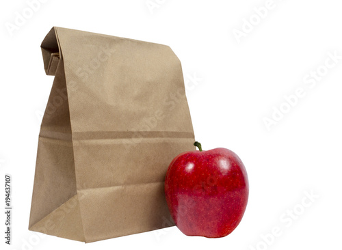 Lunch Sack Folded Over With Red Apple