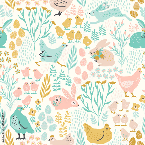 Foto op Canvas Kunstmatig Vector seamless pattern with bunnies and chicken for Easter and other users.