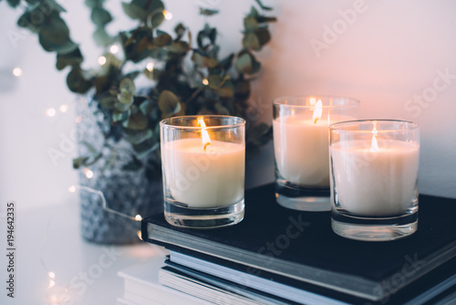 Fototapeta Cozy home interior decor, burning candles