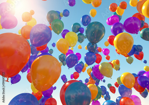 Balloons Flying to the blue sky with sunlight - 3D Rendering
