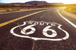 canvas print picture - Iconic Route 66 sign in American desert land