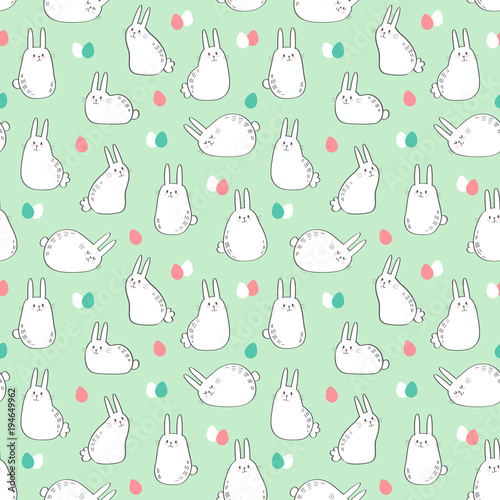 Cotton fabric Vector seamless pattern with cute bunnies and easter eggs. Easter Day background.